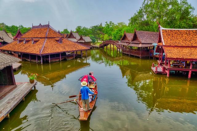 Water village in Muang Boran (Ancient City) in Samut Phrakan near Bangkok, Thailand