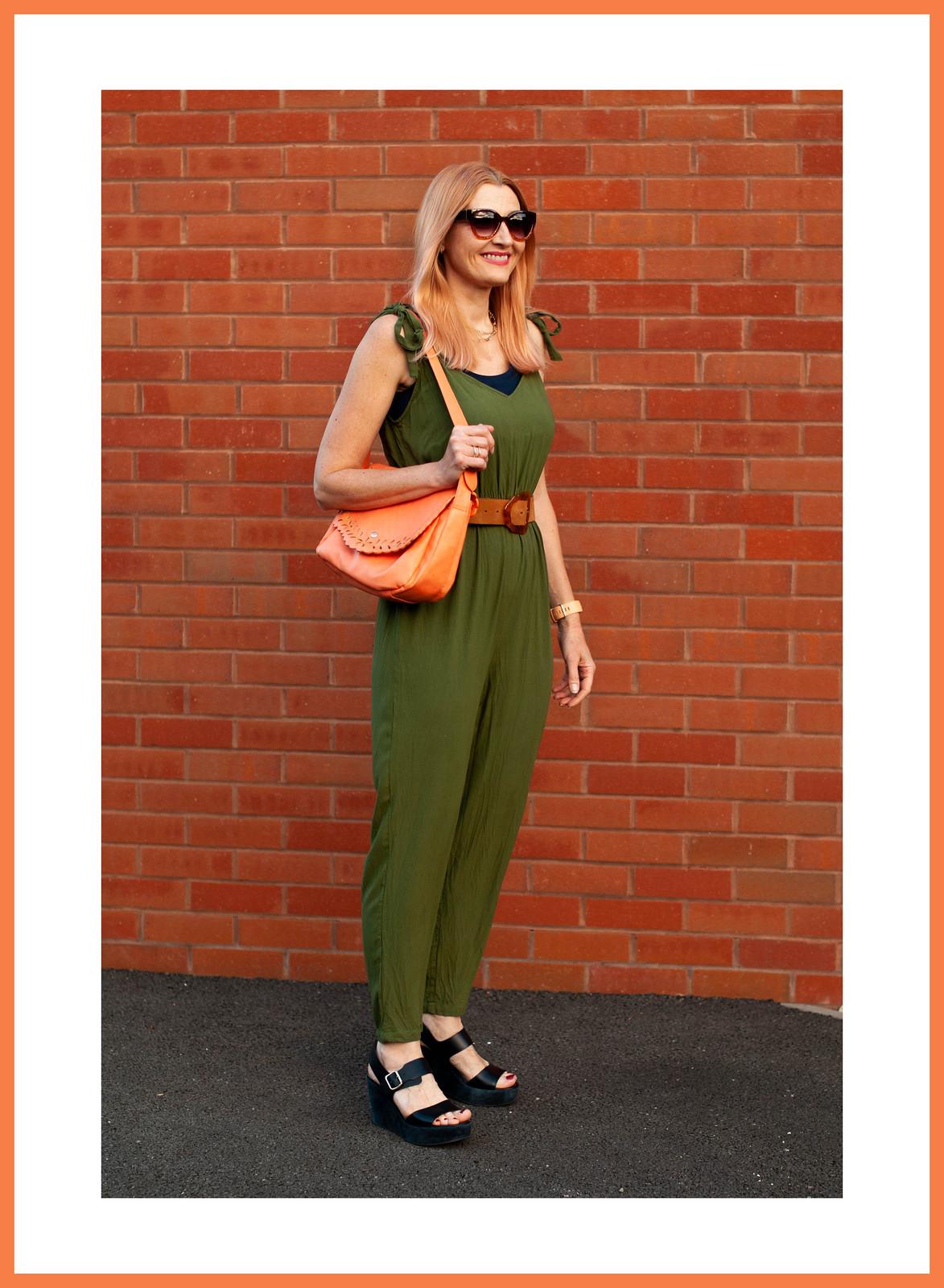Dressed Just Like My Bitmoji in an Olive Green Jumpsuit (With Orange Bag, Tan Belt & Navy Platform Sandals) | Not Dressed As Lamb, Over 40 Fashion