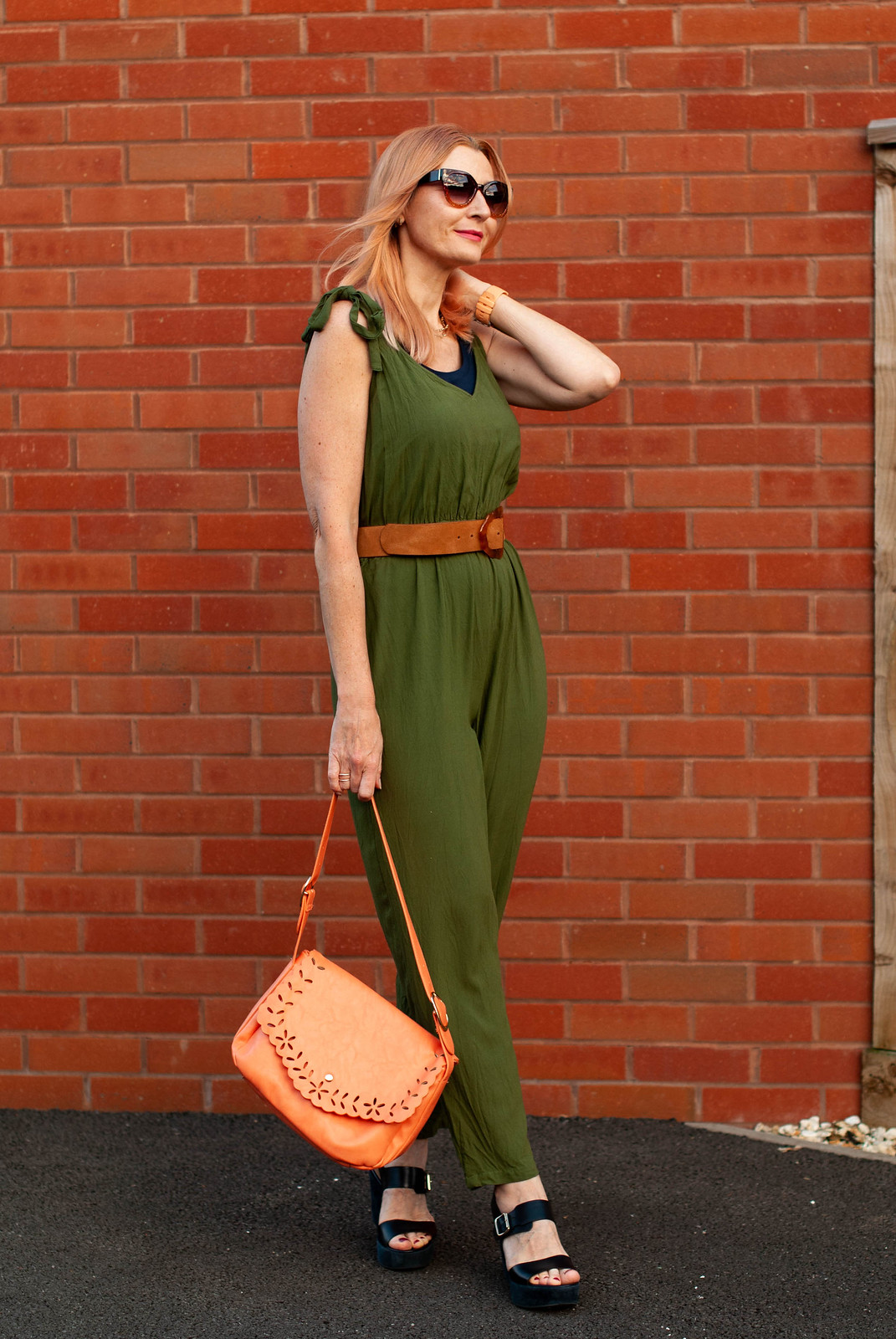 Dressed Just Like My Bitmoji in an Olive Green Jumpsuit (With Orange Bag, Tan Belt & Navy Platform Sandals) | Not Dressed As Lamb, Over 40 Fashion