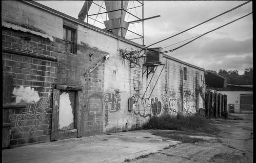 urbandecay urbanlandscape graffiti powerlines facade architecture ashevillewastepapercompany asheville northcarolina leicac1 fomapan200 moerschecofilmdeveloper 35mm 35mmfilm film analog blackandwhite monochrome monochromatic leica compactcamera pointandshoot