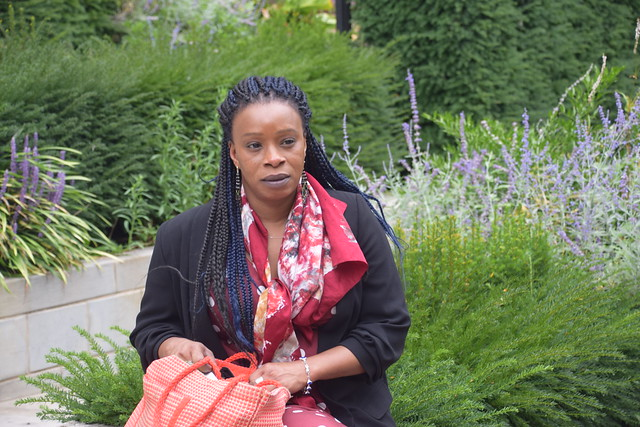 DSC_6034 Sopie from Côte d'Ivoire out on the Town City of London Saint Botolph Without Aldgate Church of England Garden with Lavender