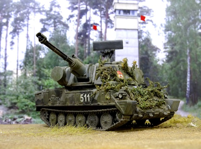 """1:72 """"Object 511"""" a.k.a. """"ZSU-37-6 / Лена"""" prototype, USSR Army, during state acceptance trials; Donguzskiy weapon test range, Orenburg Oblast, summer 1979 (What if/kit-bashing)"""