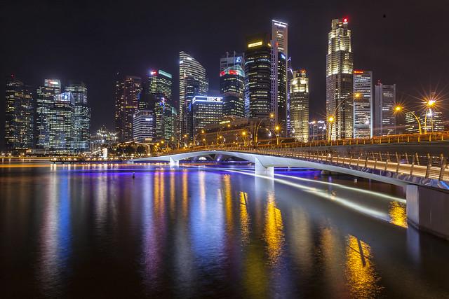 Singapore Jubilee Bridge & Surrounds Night Reflections [In Explore 7Sept2020]