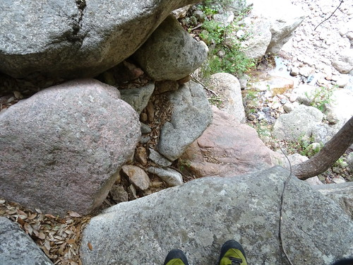 Le petit pas d'escalade avant la traversée RG - RD
