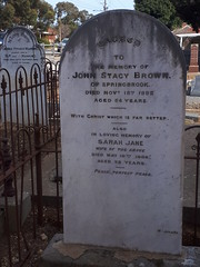 Brown headstone, Congregational cemetery McLaren Vale, 2020