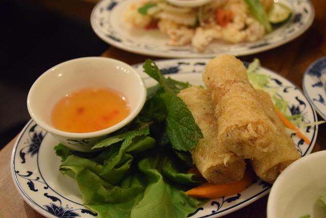 DSC_6054 BúnBúnBún Vietnamese Food 134B Kingsland Road Hoxton London. Chả nem chay Fried vegetable spring rolls £5.90