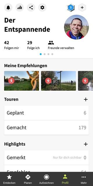 Komoot-App: Eigenes Profil aufrufen