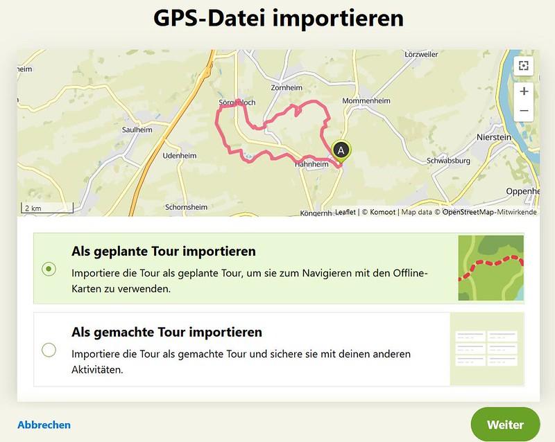 Komoot: GPS-Datei importieren - Als geplante Tour importieren