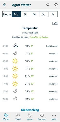 Bayer Agrar Web (Android App): Temperaturvorhersage