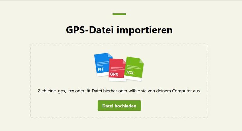 Komoot: GPS-Datei importieren - Datei hochladen