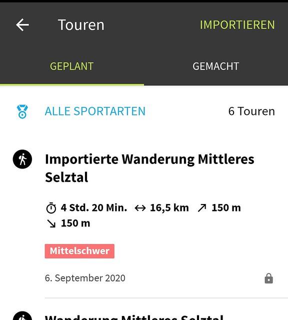Komoot-App: Geplante Touren