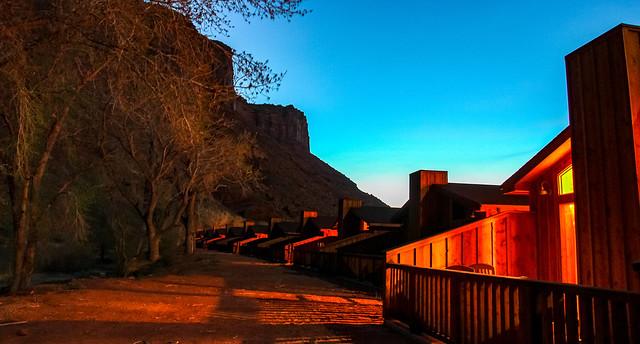 Nightfall at Red Cliffs  Lodge, Moab, Utah