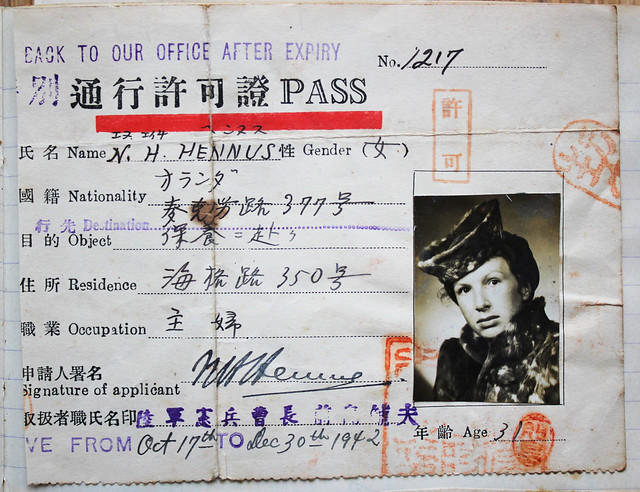 Japanese Pass Nel Hennus, Shanghai, 1942