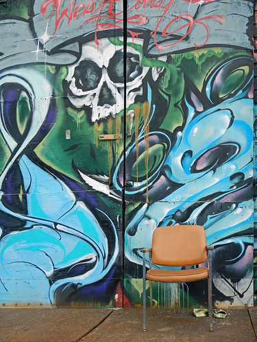 Vancouver Eastside graffiti down by the train tracks (and a comfy chair from which to contemplate it)