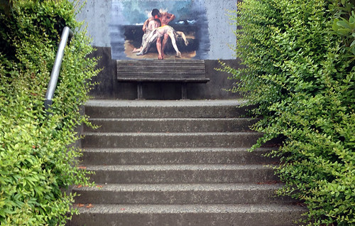 Mural on a set of stairs that are part of a public right-of-way
