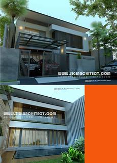 rumah mewah 2 lantai & kolam renang privat, modern minimal