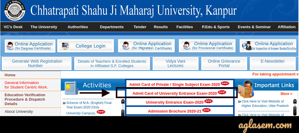 Kanpur University 2020 Admit Card