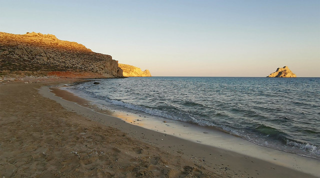 Last light at Xerokampos Beach with two of the Kavaloi Islands (Kavallos and Anavatis)