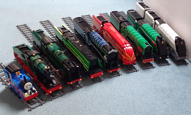 All 9 of my lined lego steam locomotives