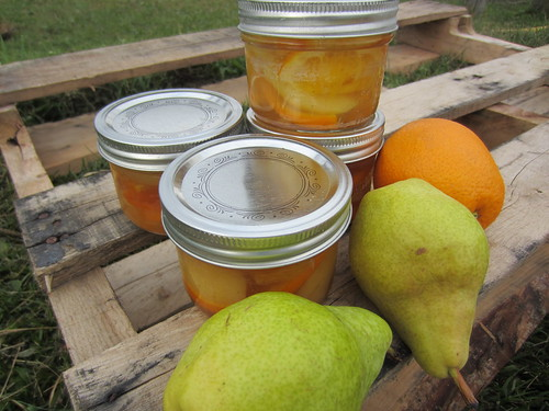 Pears and oranges in liqueur