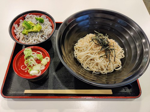 Mori soba with avocado shirasu set