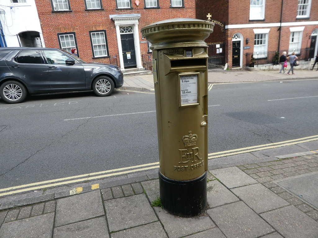 Gold postbox on Lymington High Street