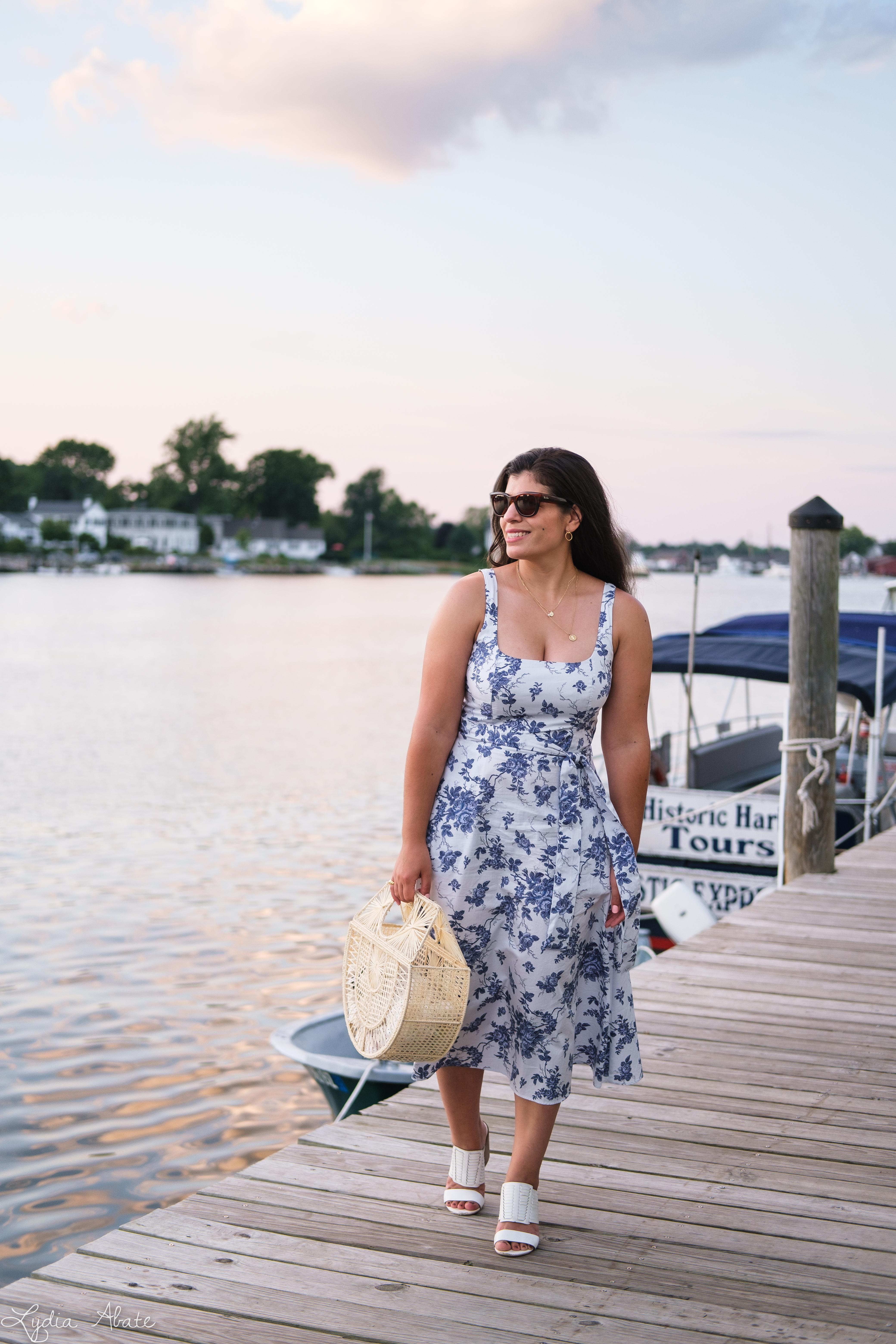 blue and white floral square neck dress, raffia ark bag, white heels-9.jpg