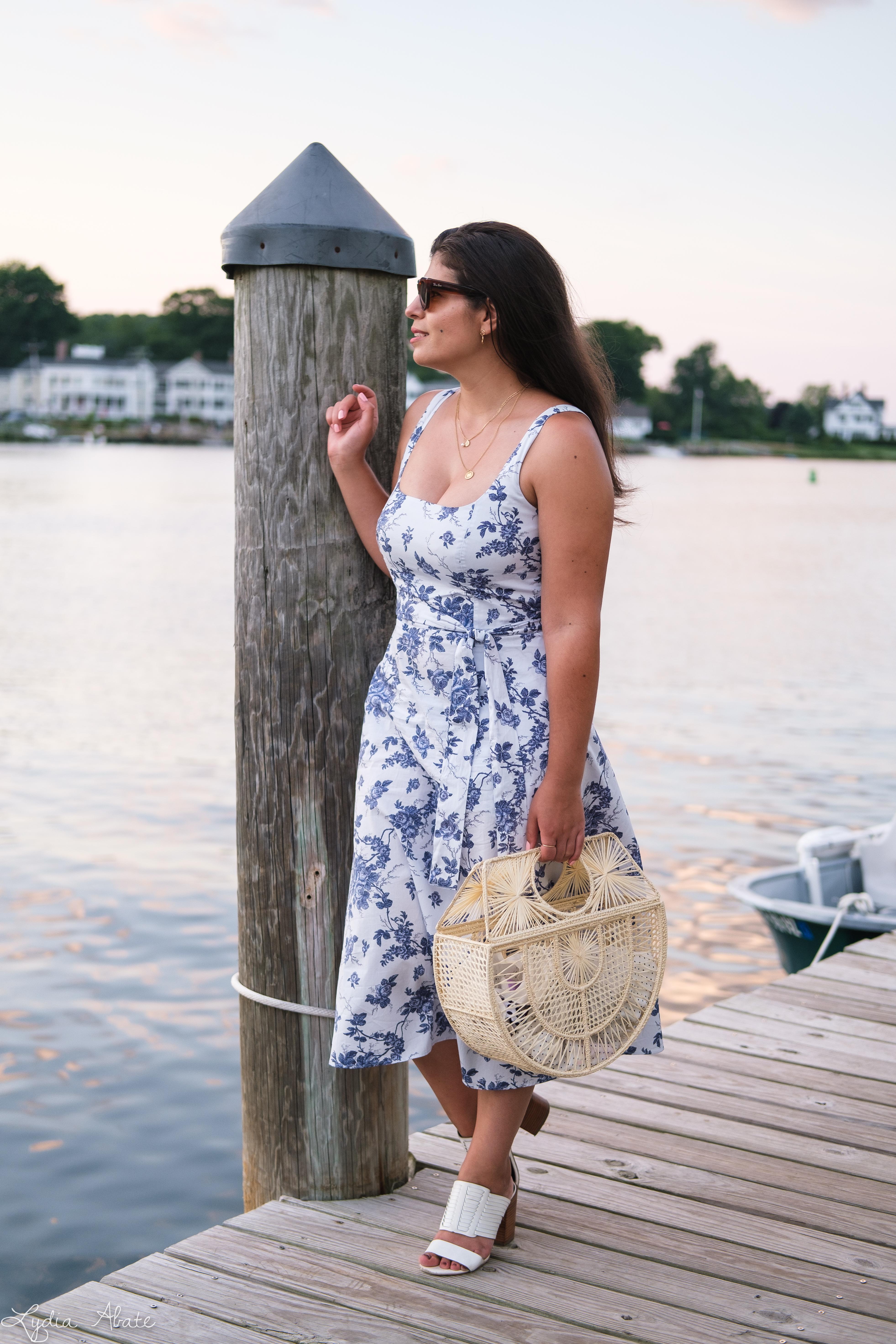 blue and white floral square neck dress, raffia ark bag, white heels-11.jpg