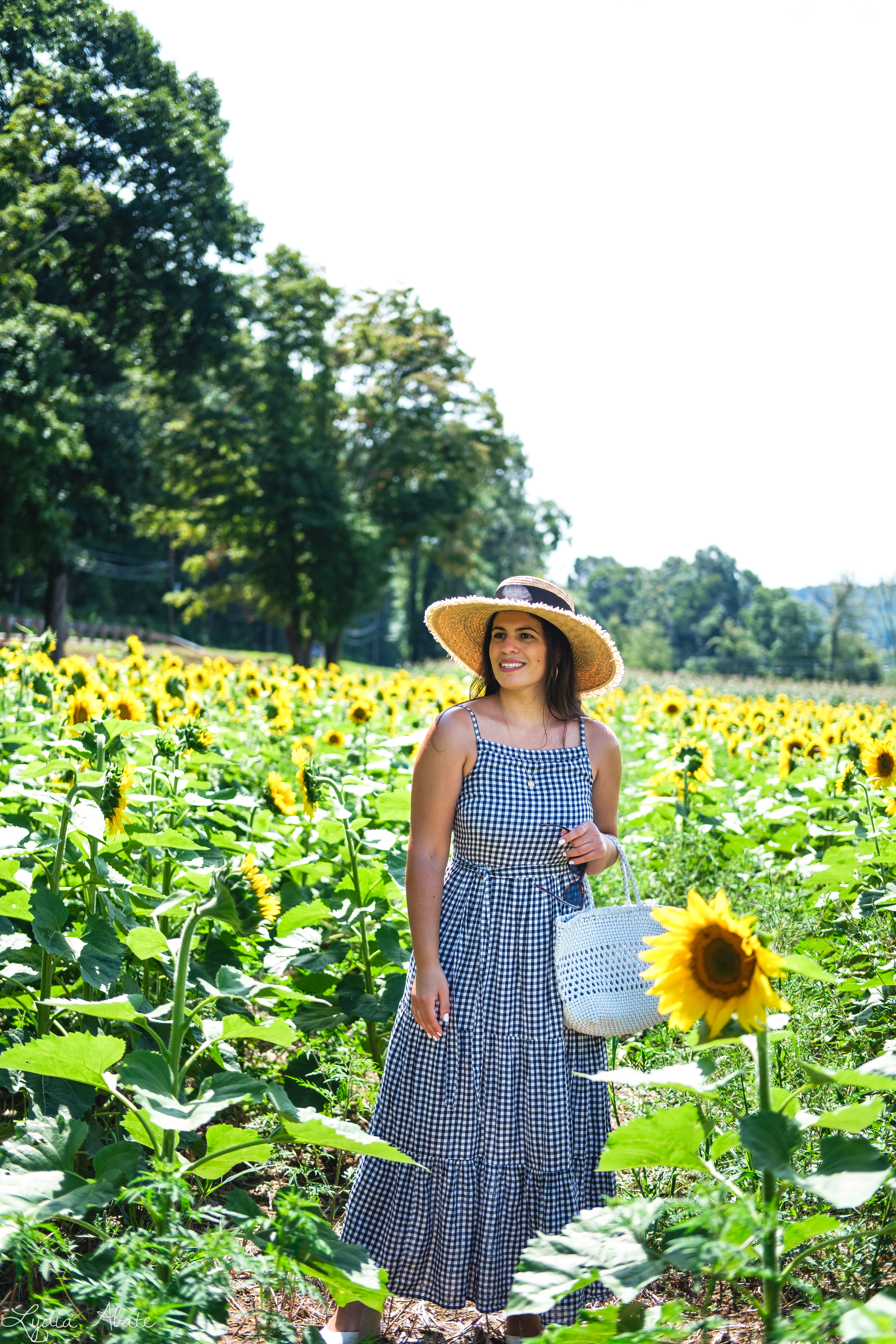 gingham maxi dress, straw hat, white caned leather tote bag, sunflowers-1.jpg