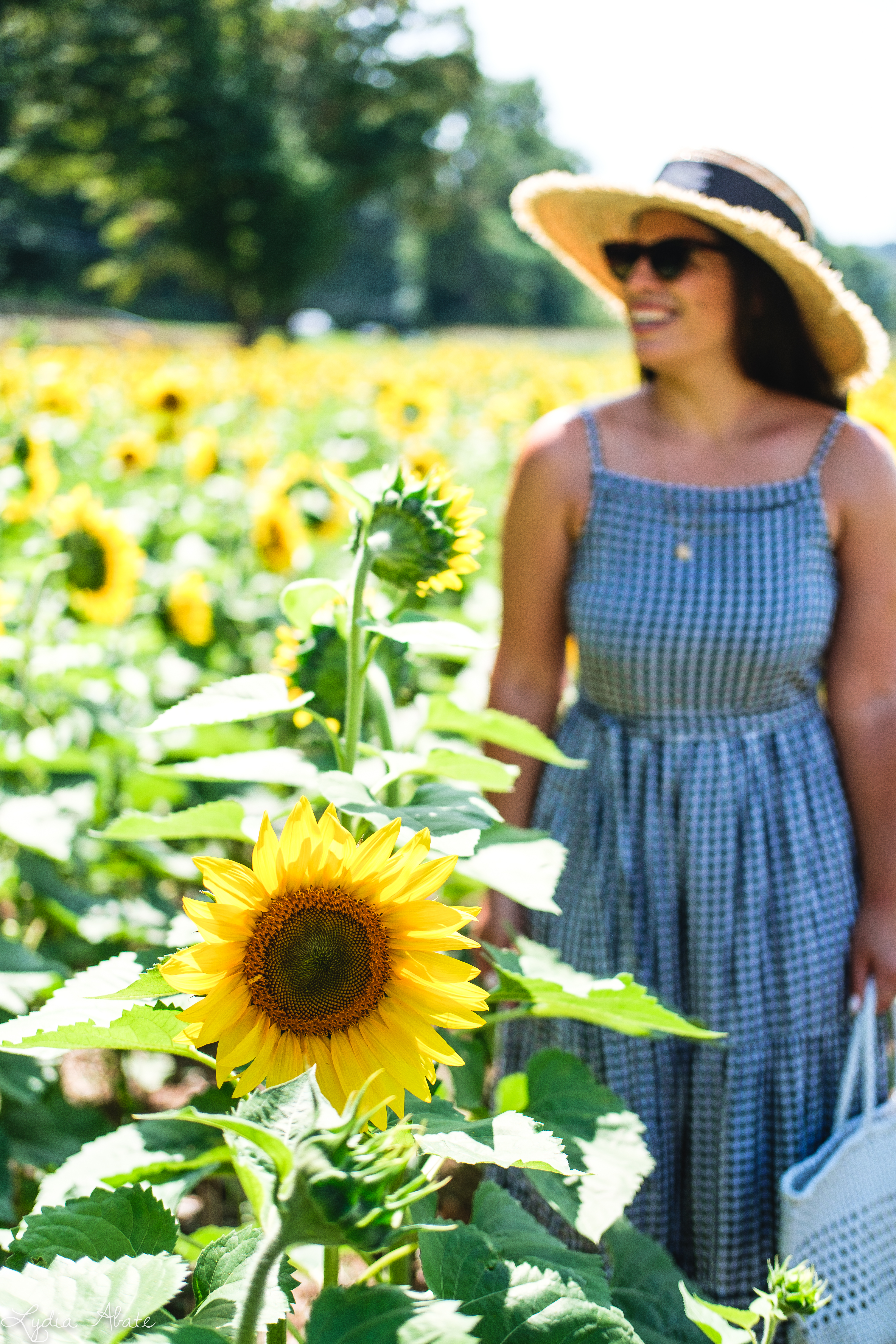 gingham maxi dress, straw hat, white caned leather tote bag, sunflowers-10.jpg