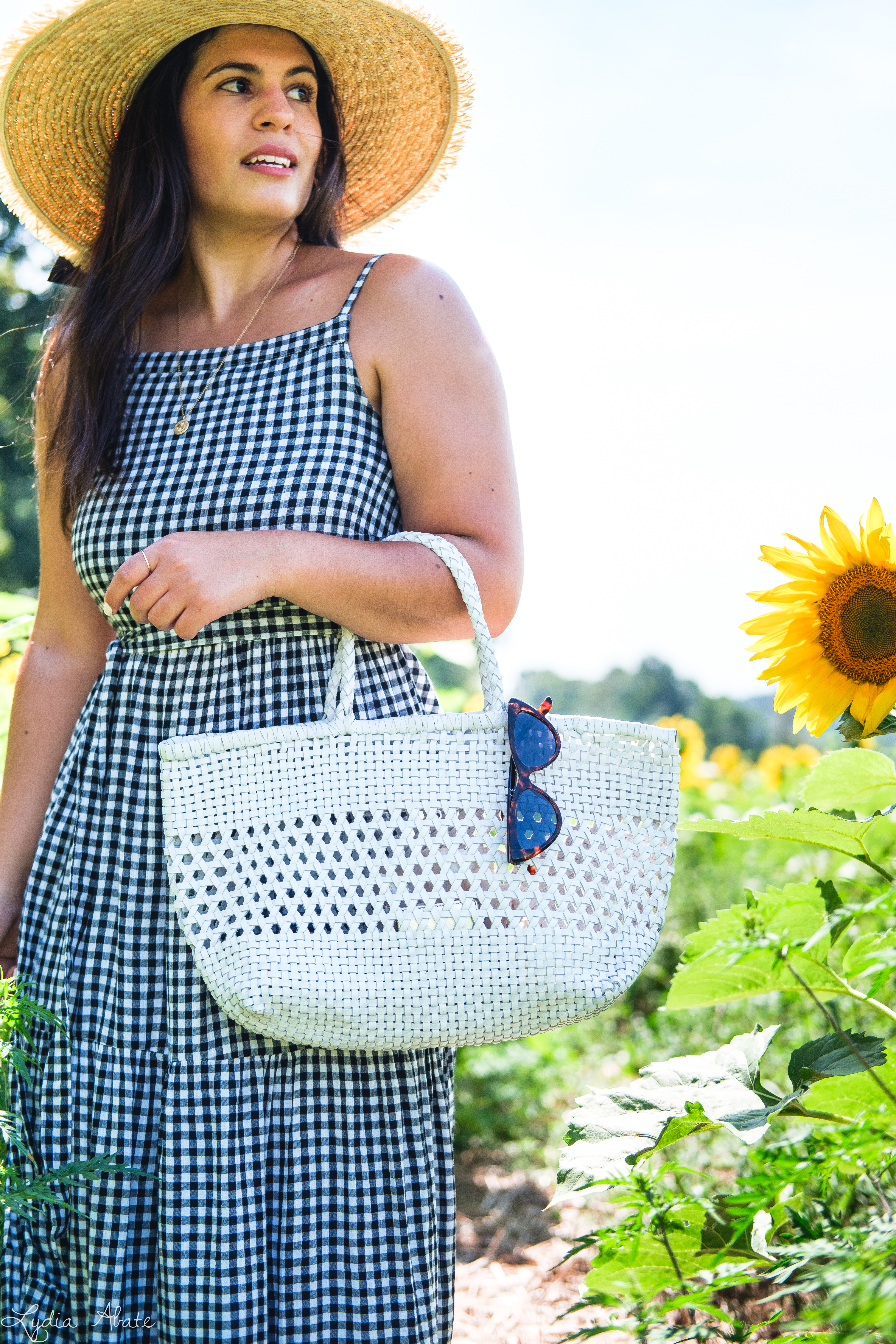 gingham maxi dress, straw hat, white caned leather tote bag, sunflowers-16.jpg