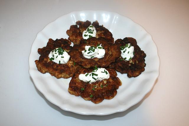 French chicken pancakes - Leftovers II  / Fränzösische Hähnchenpuffer - Resteverbrauch II