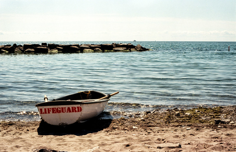 Lifeguard Boat Parked on the Shore