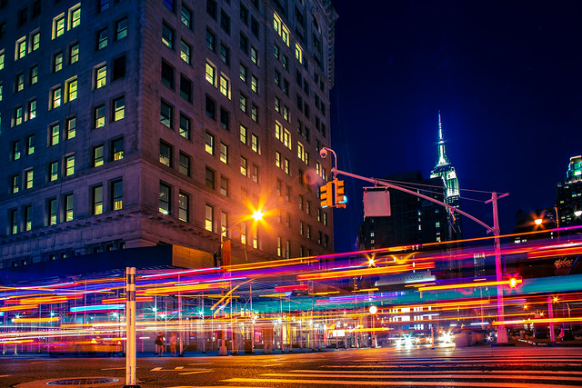 The Flatiron District at night