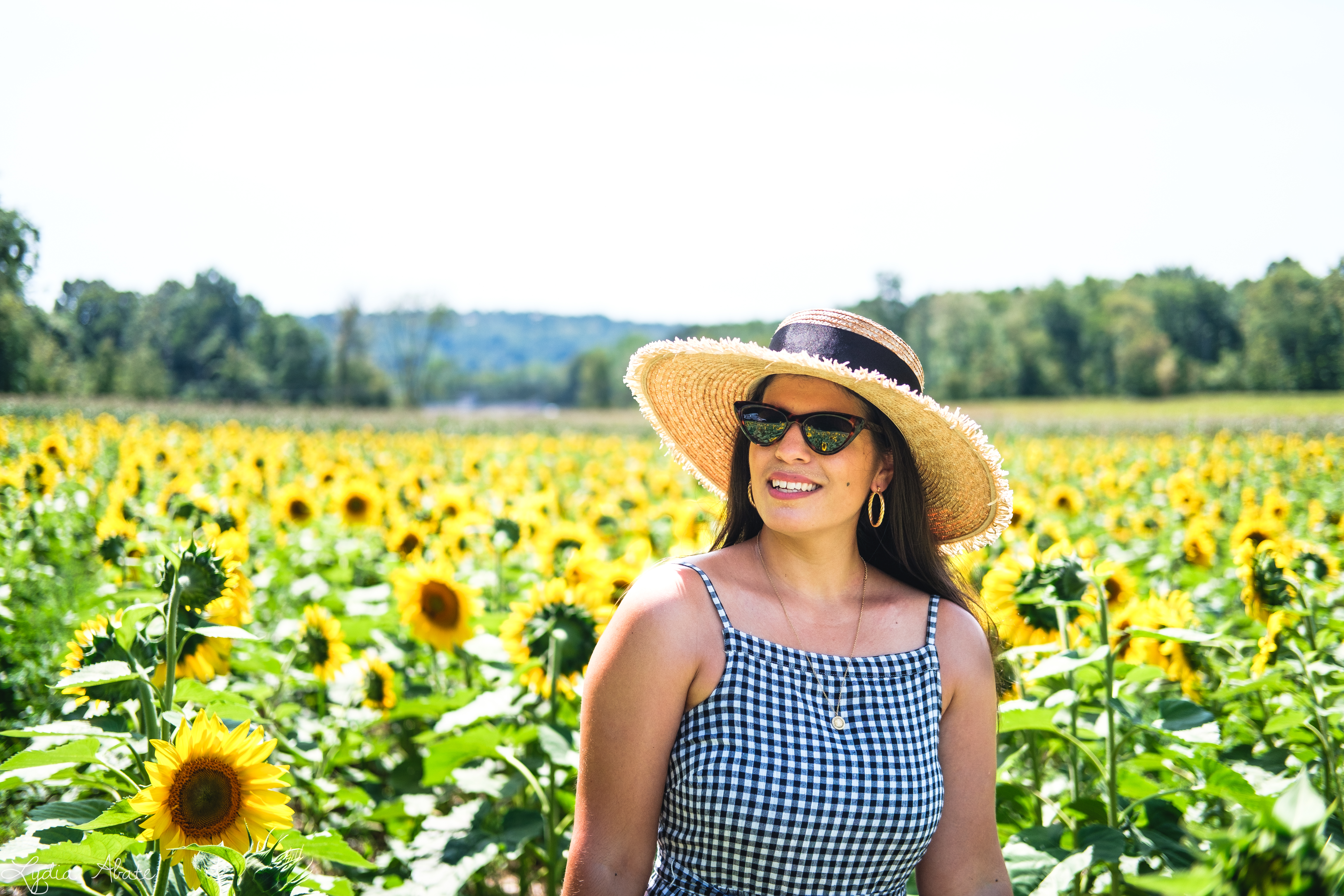 gingham maxi dress, straw hat, white caned leather tote bag, sunflowers-14.jpg