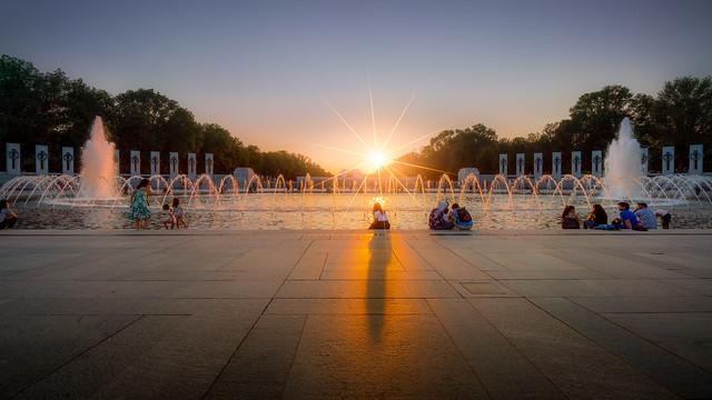 Sunset at the World War II Memorial