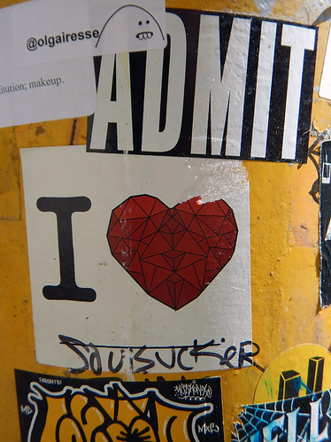 Stickers street art with heart