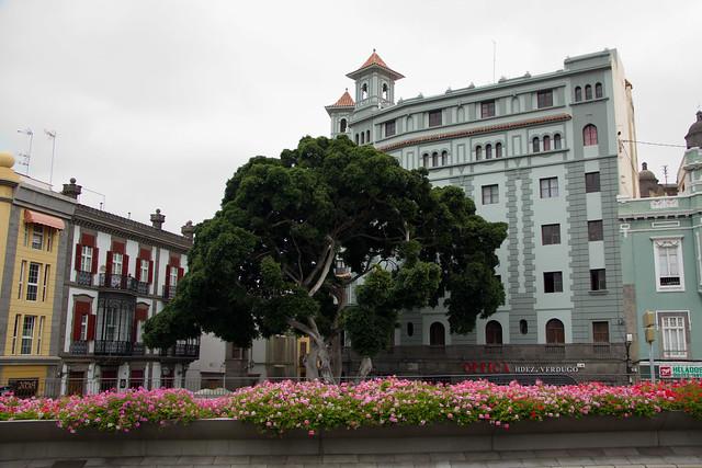 Edificio calle Herrería y Teatro Guiniguada barrio de Vegueta Las Palmas De Gran Canaria