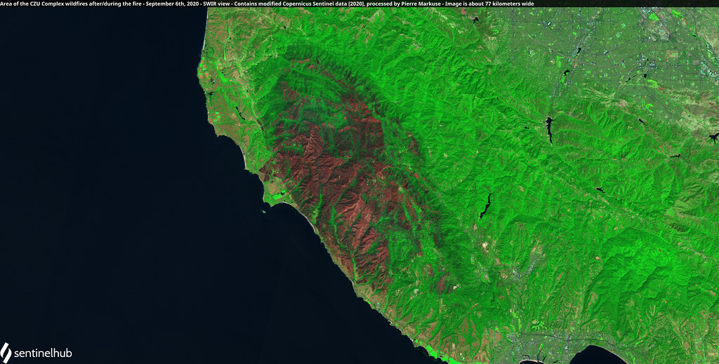 Area of the CZU Complex fires after the fires, California, USA - September 6th, 2020