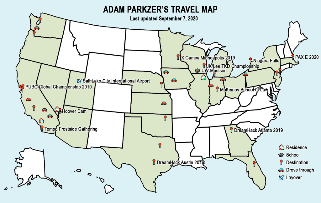 Adam Parkzer's travel map (Updated September 7, 2020)