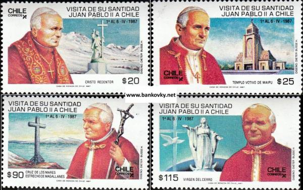 Známky Chile 1987 Pápež Ján Pavol II. neraz. séria MNH