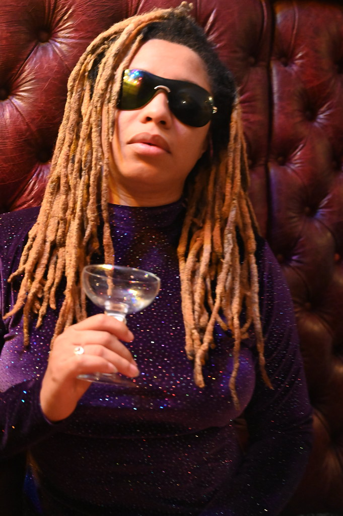 DSC_5447 Alesha from Jamaica Out in the Town Purple Mini Dress and Sun Glasses Photo Shoot Late Night Dining Polo Bar Great British 24 hour Cafe City of London 176 Bishopsgate