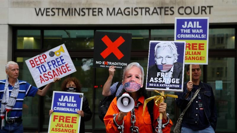 維基解密創辦人阿桑奇正面臨引渡審訊。(圖片來源:Kirsty Wigglesworth/AP)