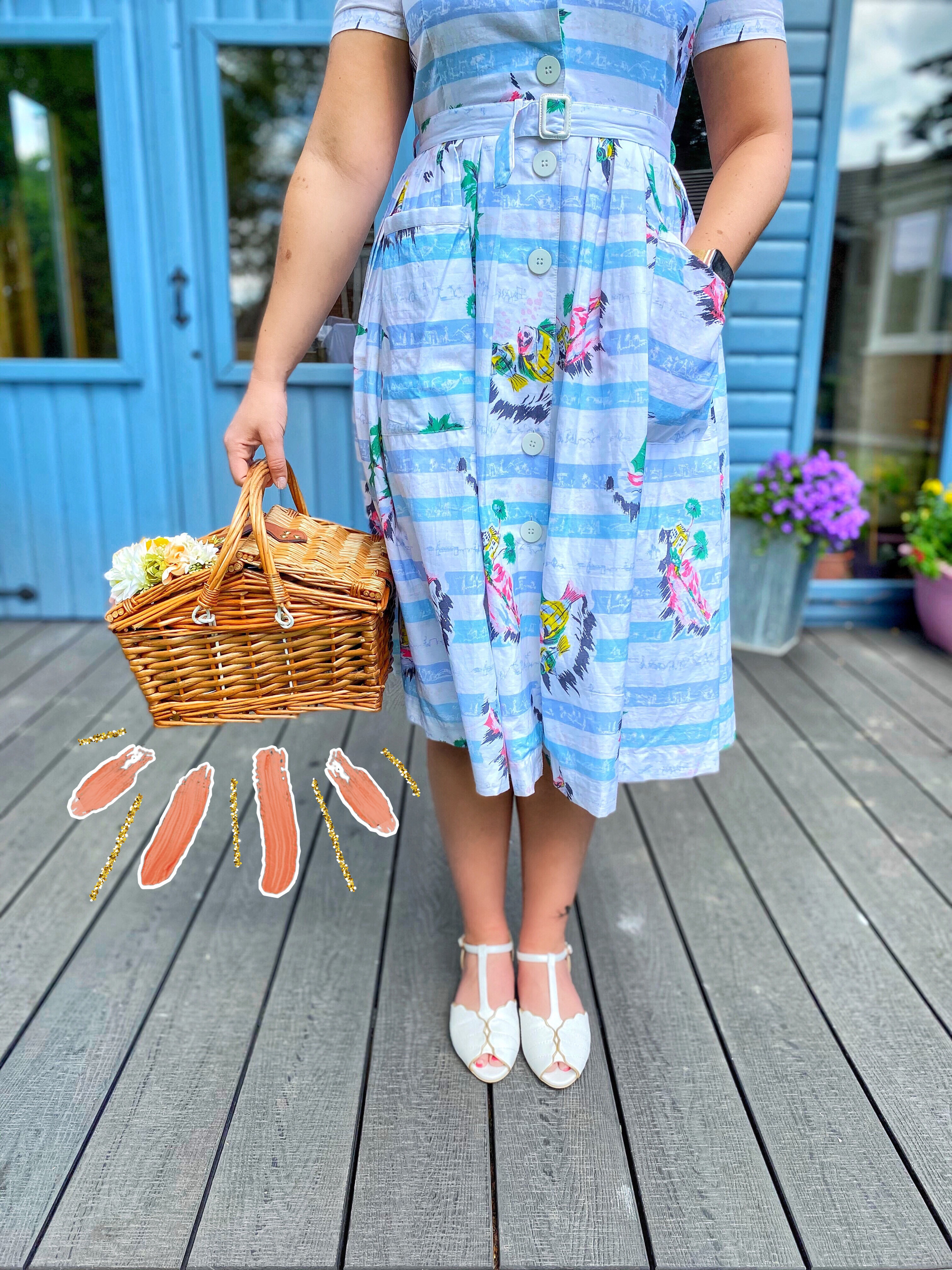 how to wear a vintage picnic basket