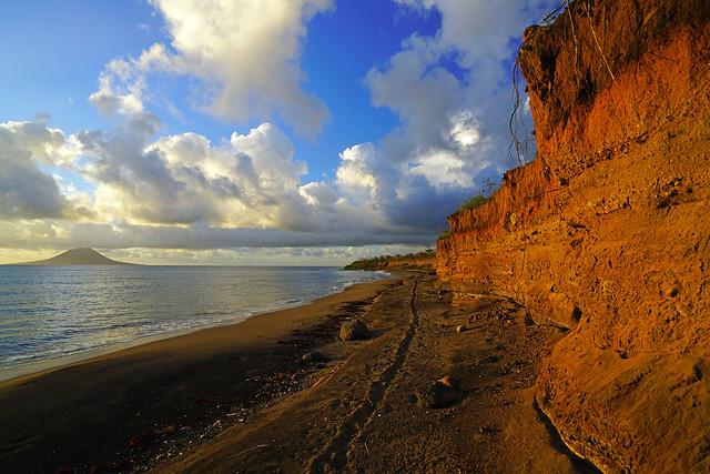 Sandy Point shoreline in sunset light, St Kitts