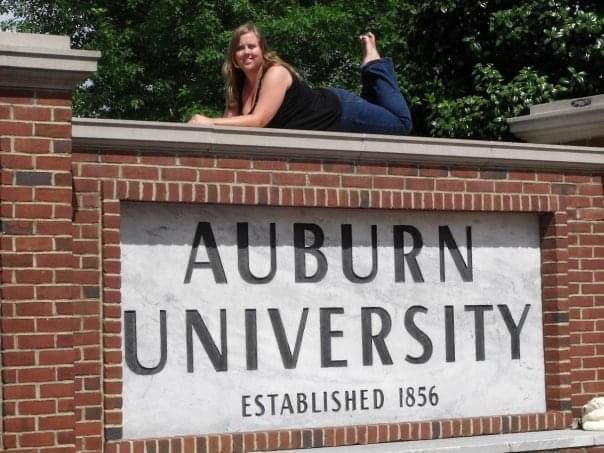 Jennifer Mashburn on the Auburn University sign