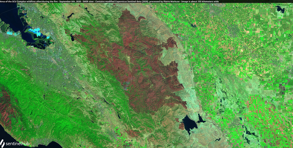 Area of the SCU Lightning Complex fires after the fires, California, USA - September 6th, 2020