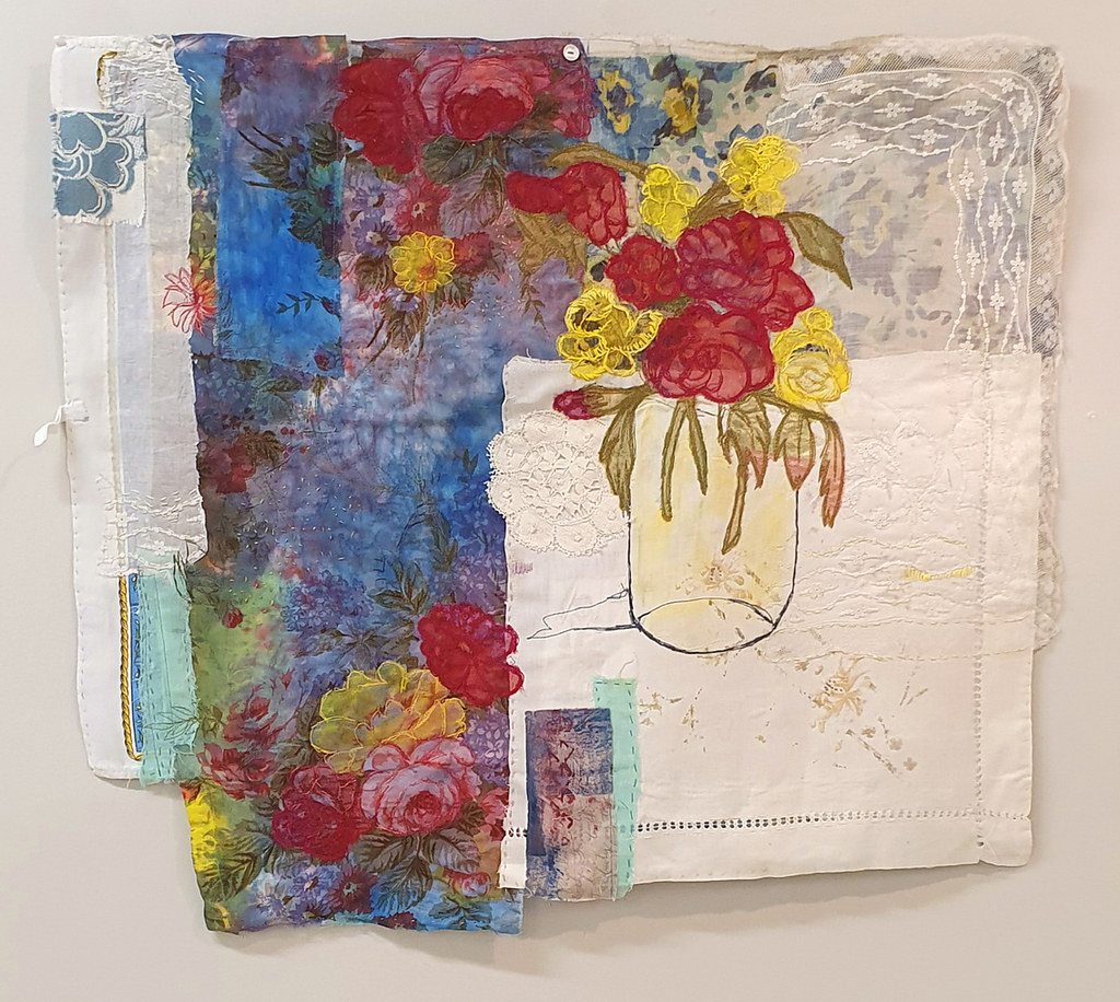 17. Cas Holmes Great Aunt Margaret's Hopes 2019. 59 cm x 69 cm. Mixed media paint, print, cloth and stitch with found materials