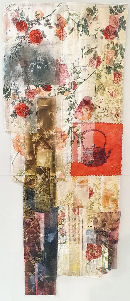 7. Cas Holmes Pani Kekkavva (Kettle) Rose 2019. 167 cm x 61 cm x 0.5 cm. Mixed media paint, print, cloth and stitch with found materials