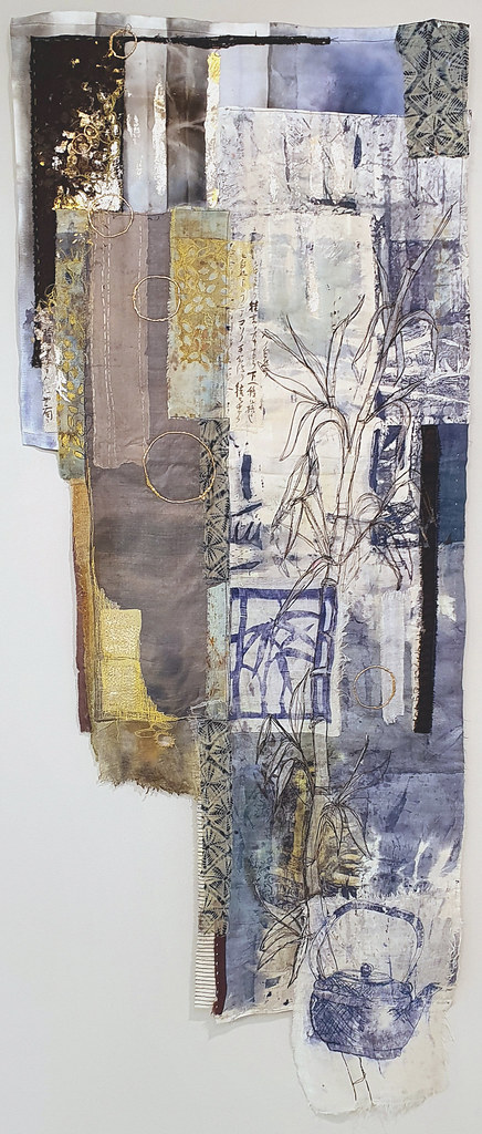 9. Cas Holmes Pani Kekkavva (Kettle) Bamboo 2019. 132 cm x 52 cm x 0.5 cm. Mixed media paint, print, cloth and stitch with found materials
